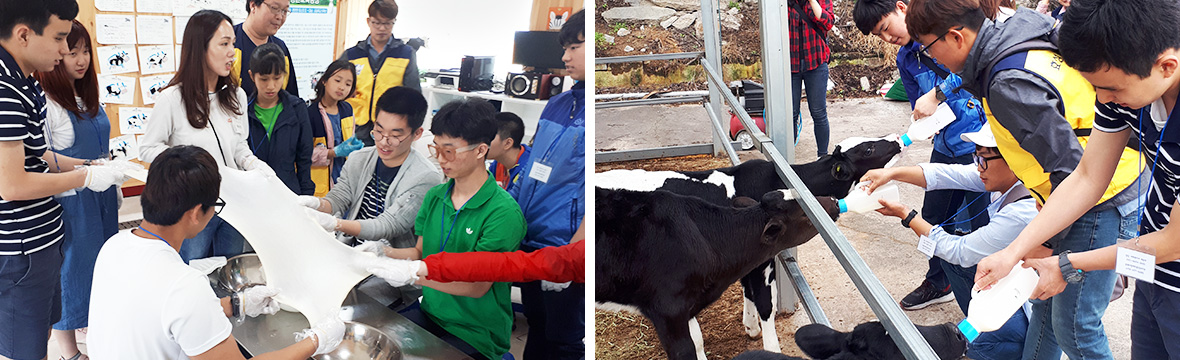 A picture of Hyosung Good Spring executives and employees volunteering at a general welfare center for the disabled.